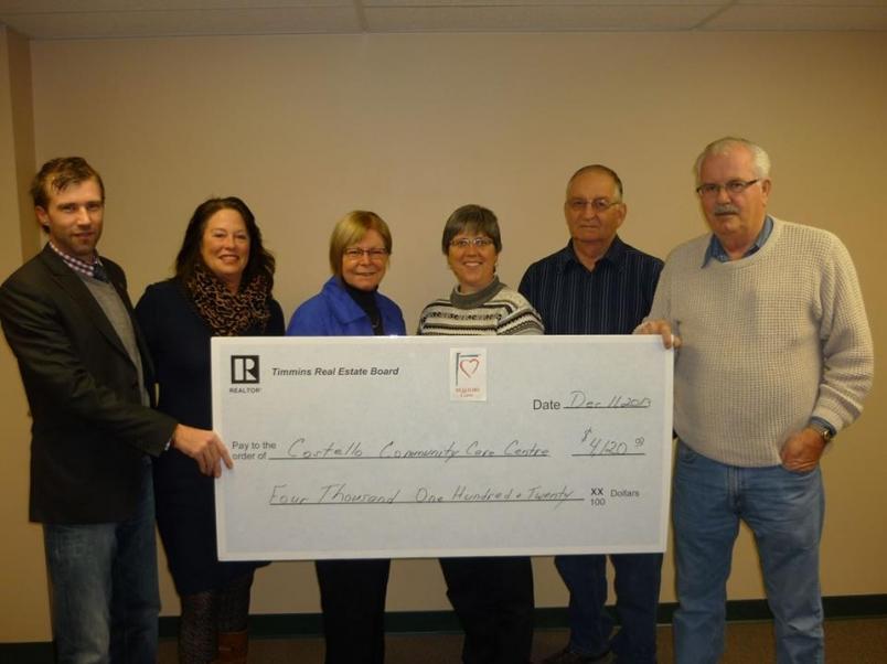 Timmins Real Estate Board cheque presentation to Costello Community Centre